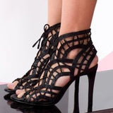 Joie - Leah Lace Up Stiletto Sandal in Black Leather - Seaside Soles