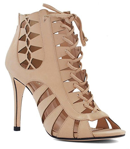 Klub Nico - Mona Lace-Up Stiletto Heel in Nude Nubuck - Seaside Soles