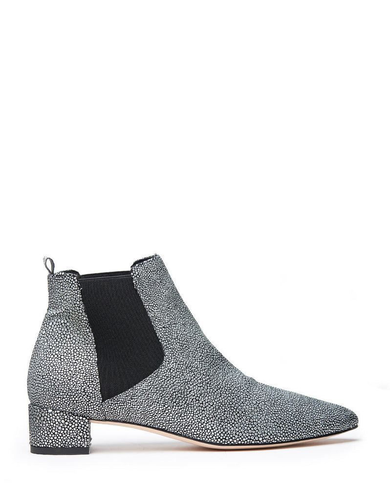 Miista - Beau Bootie in Black and Silver - Seaside Soles