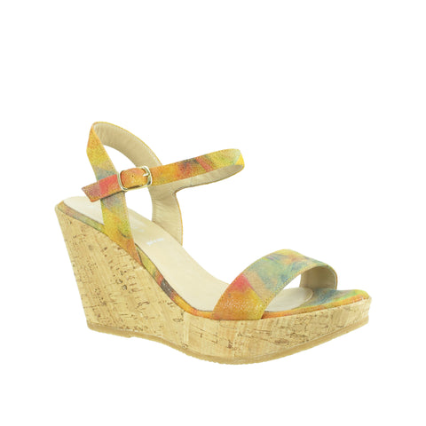 Ron White - Winnie Sun Multi Printed Suede Cork Wedge Sandal - Seaside Soles