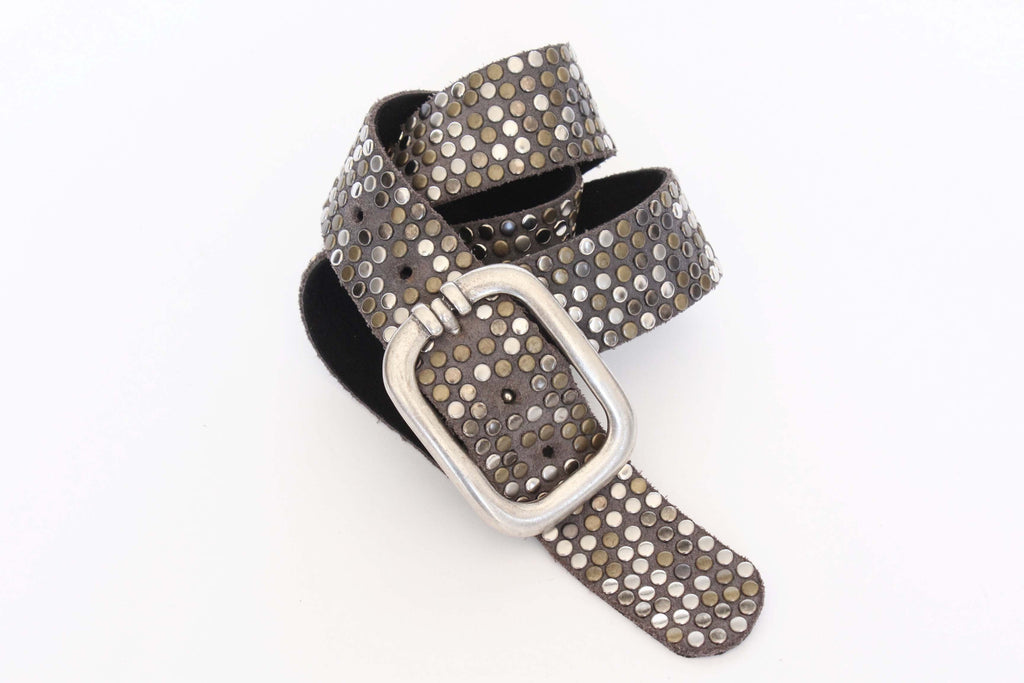 Streets Ahead INC. - Suede Studded Contour Belt - Seaside Soles