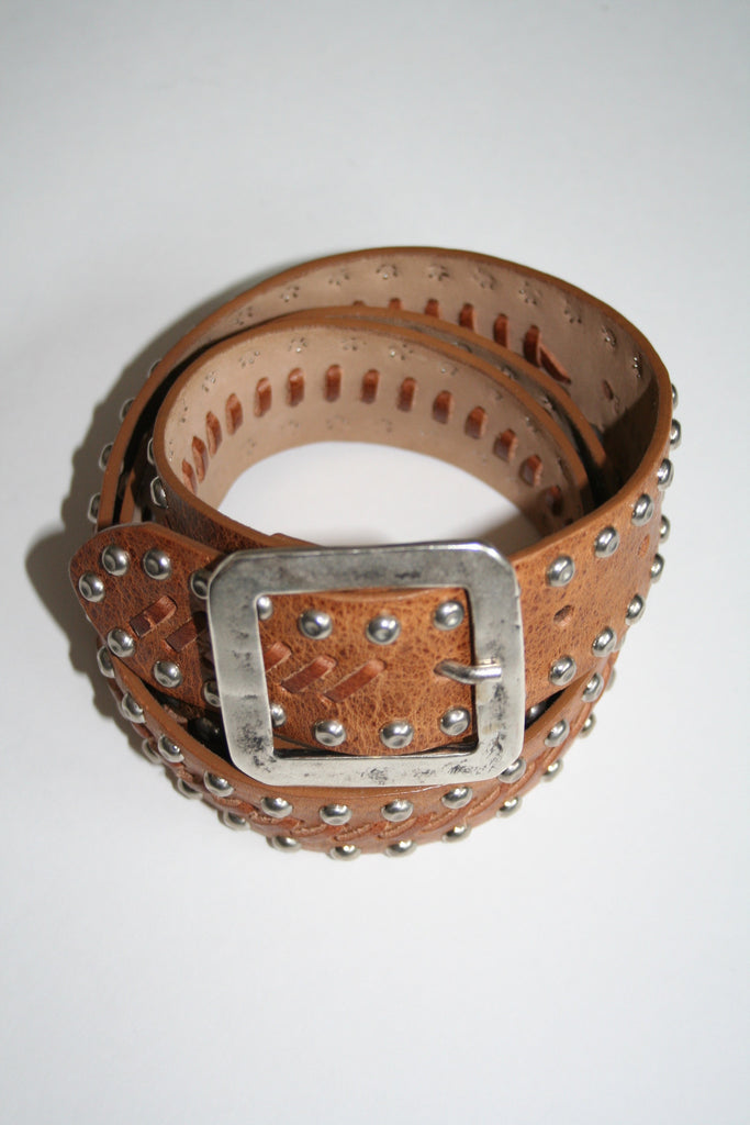 Streets Ahead INC. - Silver Studded Natural Stitched Belt - Seaside Soles