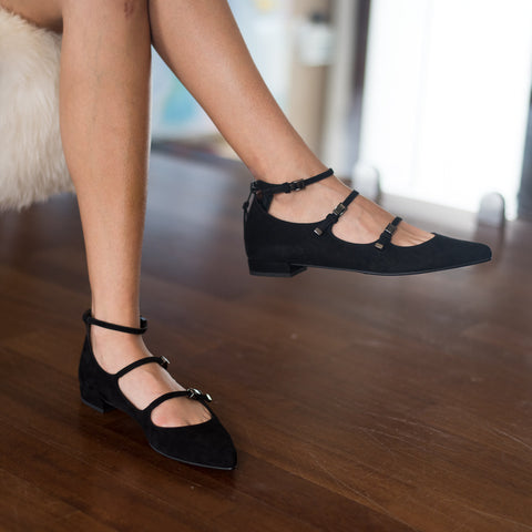 Stuart Weitzman - Flippy Black Suede Triple Strap Mary Jane Flats - Seaside Soles