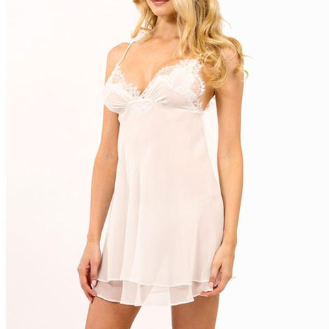 Christine Lingerie - Chiffon Babydoll Chemise Pearl - Seaside Soles