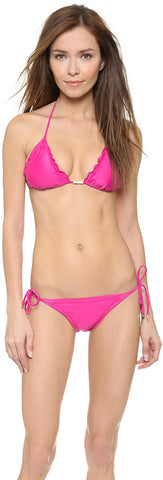 CIA.MARITIMA - Pink Ruffled Triangle String Bikini Top - Seaside Soles