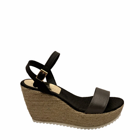 Cordani - Hydra Espadrille Wedge Sandal in Gunmetal/Black - Seaside Soles