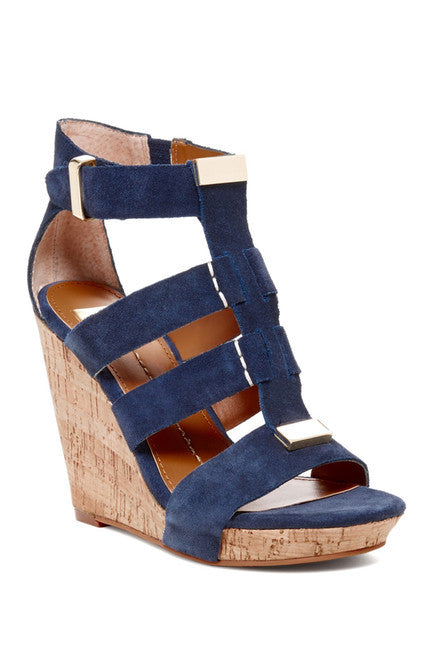 Dolce Vita - Theia Wedge Sandal in Navy - Seaside Soles