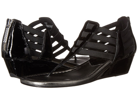Donald J Pliner Deena Black Patent Wedge Sandal - Seaside Soles