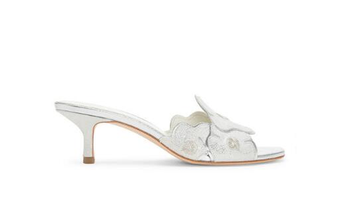 Donald J Pliner - Mea Kitten Heel Sandals in Silver - Seaside Soles