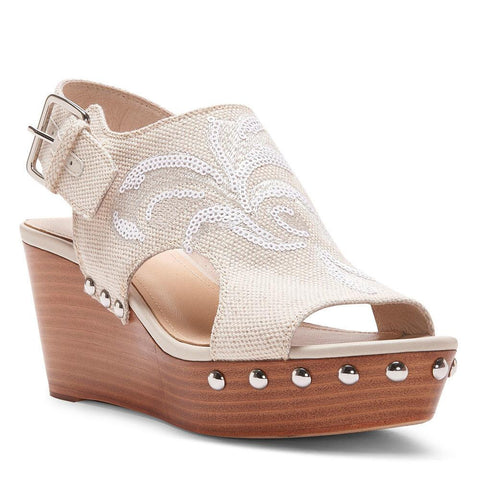 Donald J Pliner - Fallon Embroidered Canvas Stretch Wedge Sandal - Seaside Soles