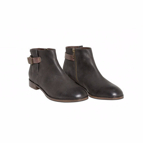 Elk - Spanne Ankle Boot in Black/Chocolate Leather - Seaside Soles