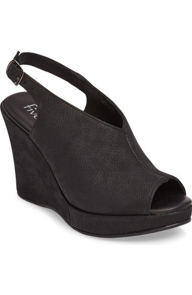 Five Worlds by Cordani - Amiga Black Wedge Sandal - Seaside Soles