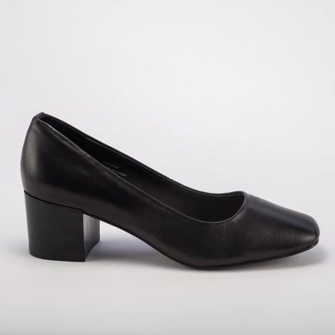 Grey City Tweed Pump Black Leather - Seaside Soles