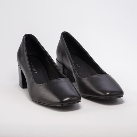 Grey City Tweed Black Leather Pump - Seaside Soles