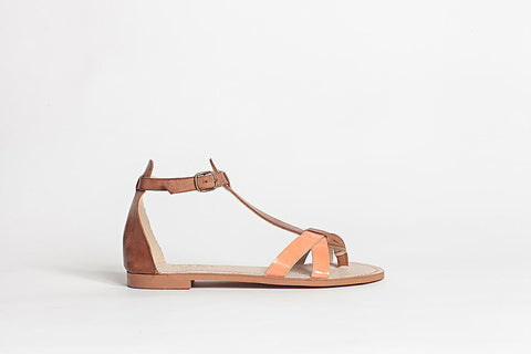 ivylee - Alexa Leather Sandal in Tan and Coral - Seaside Soles