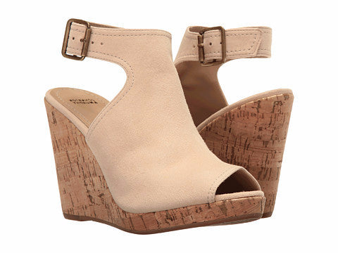 Johnston & Murphy - Mila Ankle Strap Beige Wedge - Seaside Soles