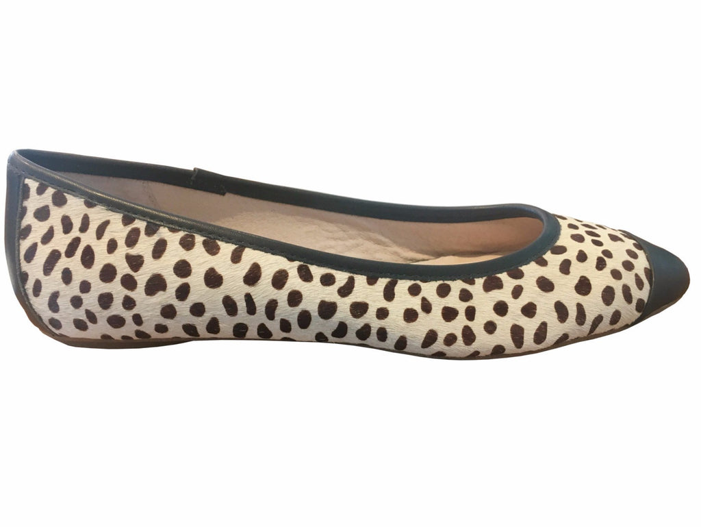 Klub Nico - Grace Pony Hair Ballet Flat in Black and White - Seaside Soles