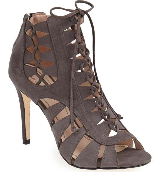 Klub Nico - Mona Lace-Up Stiletto Heel in Grey Nubuck - Seaside Soles