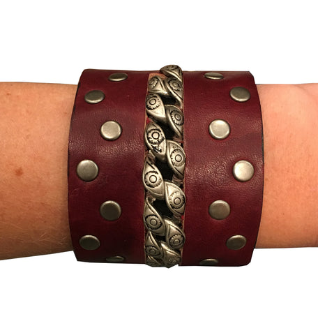 Lynne Curtin - Burgundy Silver Stud Love Leather Cuff - Seaside Soles