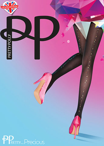 Pretty Polly - Pretty Precious Jewel Backseam Tights - Seaside Soles