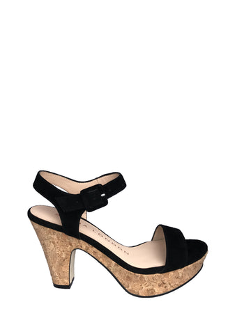 Sacha London - Ewise Cork Platform Sandal in Black - Seaside Soles