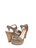 Sacha London - Ewise Cork Platform Sandal in Taupe - Seaside Soles