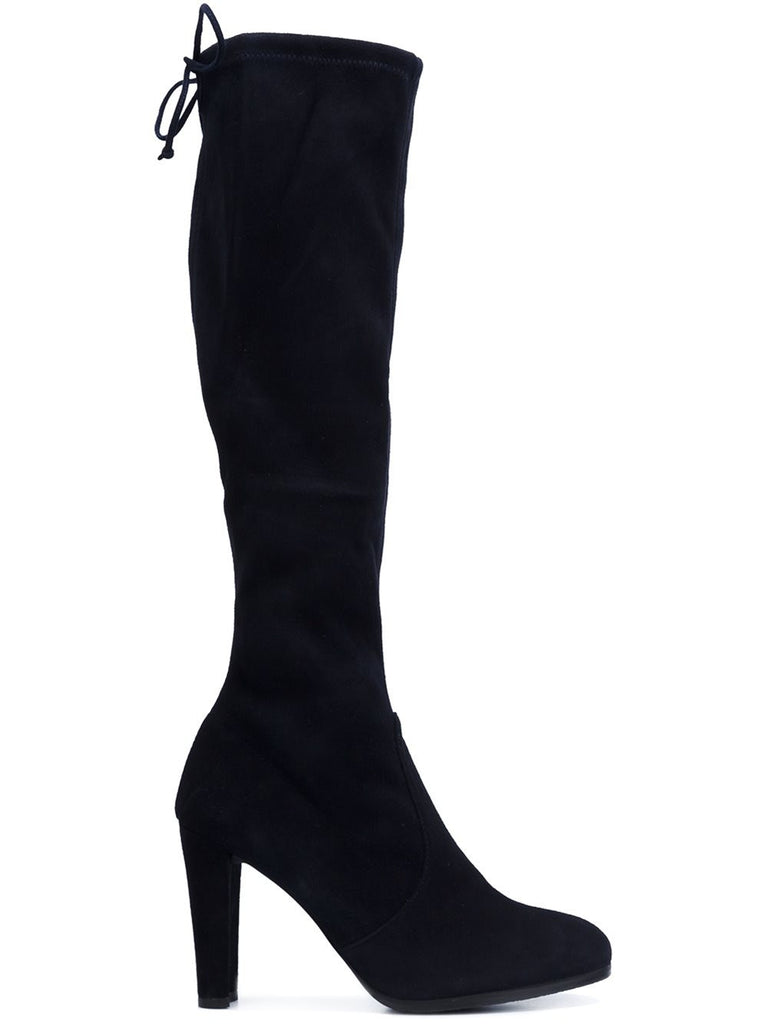 Stuart Weitzman - Keenland Knee High Boot in Black Stretch Suede - Seaside Soles