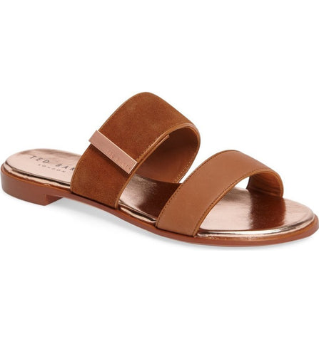 Ted Baker - IJOE Tan Double Strap Leather Sandals - Seaside Soles