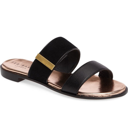 Ted Baker - IJOE Black Double Strap Leather Sliders - Seaside Soles