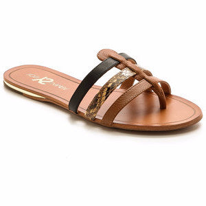 Yosi Samra - Corey Sandal in Whiskey, Natural, and Black - Seaside Soles