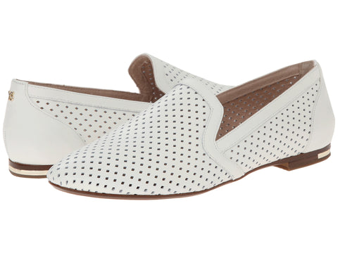 Yosi Samra Preslie Perforated Leather Women's Loafer in White - Seaside Soles