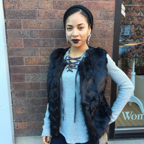 Grey Lace-up Top with Black Furry Vest