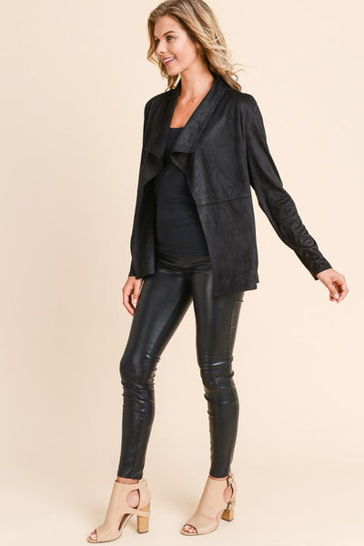 Darling in Draped Suede Jacket