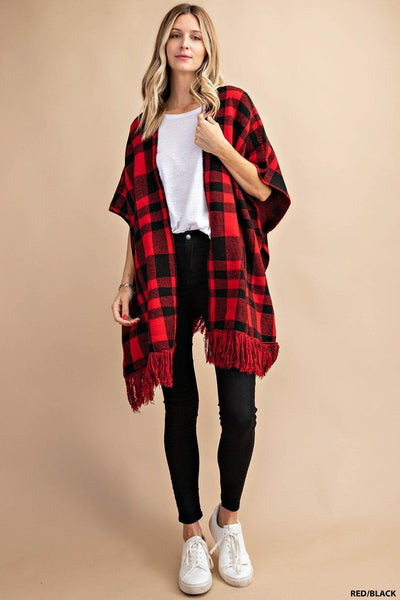 Red & Black Checkered Shawl