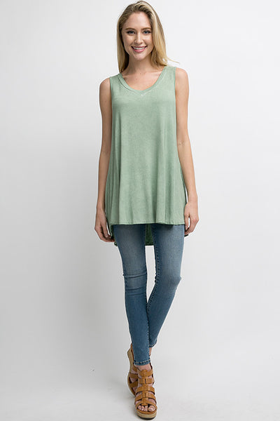 Dusty Mint Wash Dye Top