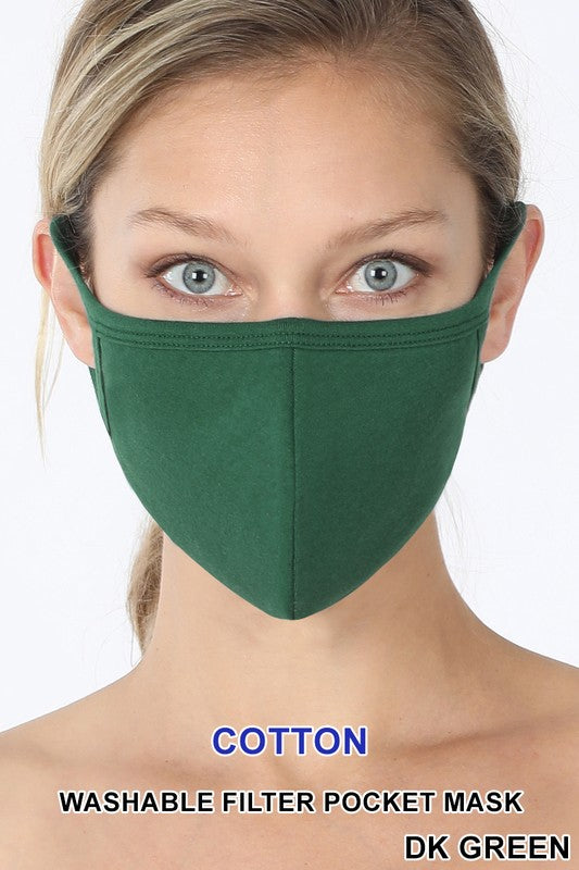 Dark Green Reusable Face Mask