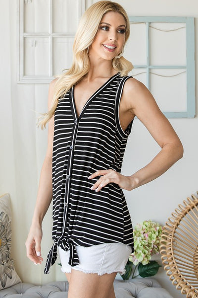 Striped and Buttoned Tank