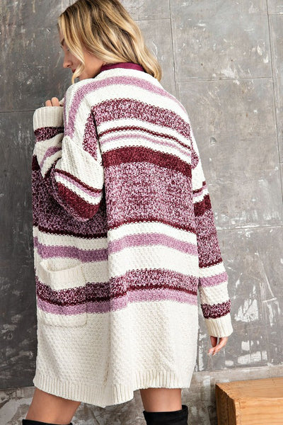 Mauve striped cardigan sweater