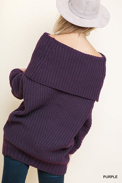 Passionate about Purple Fold Over Sweater