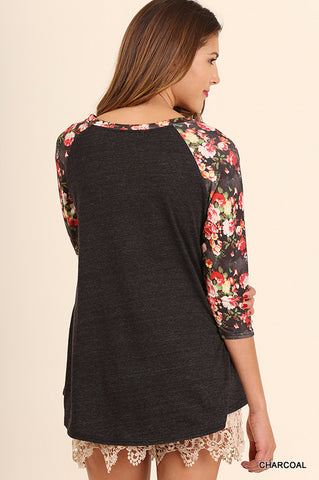 Floral In The Fall Raglan Tee