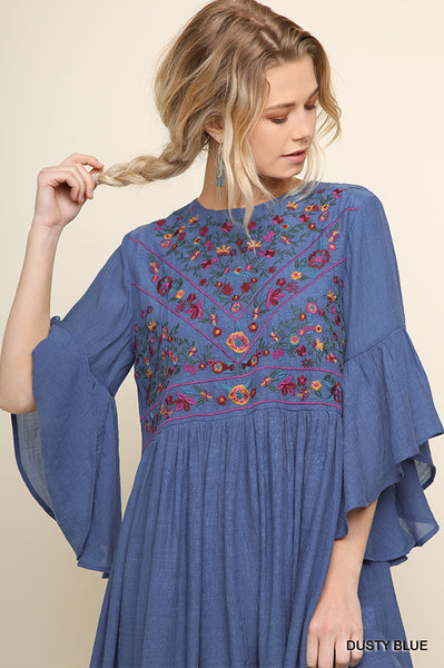 Boho Blitz Dress - Dusty Blue