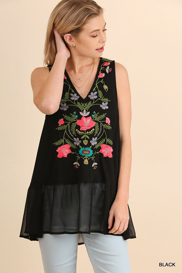 Flirtatious in Floral Embroidered Sleeveless Top