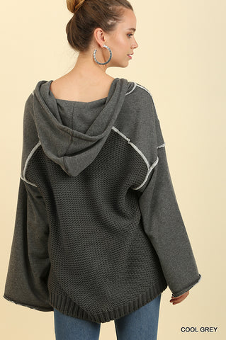 Hooded Cactus Bell Sweater