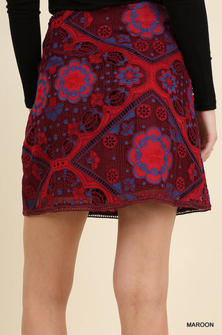 Flirty Floral Embroidered Skirt