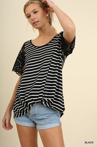 Stripes & Lace Casual Tee