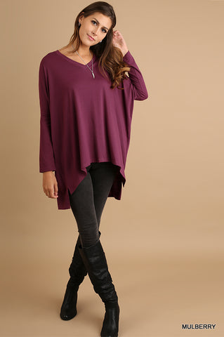 V Neck High Low Top