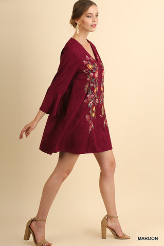 Fall Floral Embroidered Dress