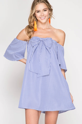 Stripes N Bows Off Shoulder Dress