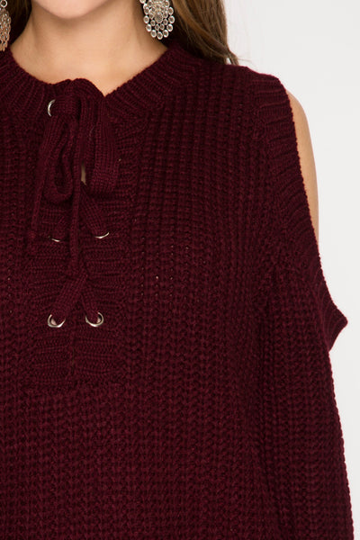 Casually Giving Cold Shoulder Burgundy Sweater