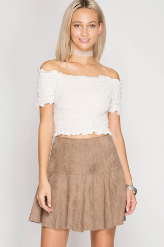 Flirty Flared Suede Skirt